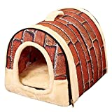 Efanr Pet Bed - 2-in-1 Portable Foldable Washable Puppy House Mat Detachable Kennel Nest Cotton Soft Cave Warm Cushion Soft-Sided Sofa Travel Bedding for 7 LBS Small Medium Dogs Cats (Brick)