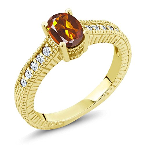 - 1.00 Ct Orange Red Madeira Citrine 18K Yellow Gold Plated Silver Ring (Size 8)