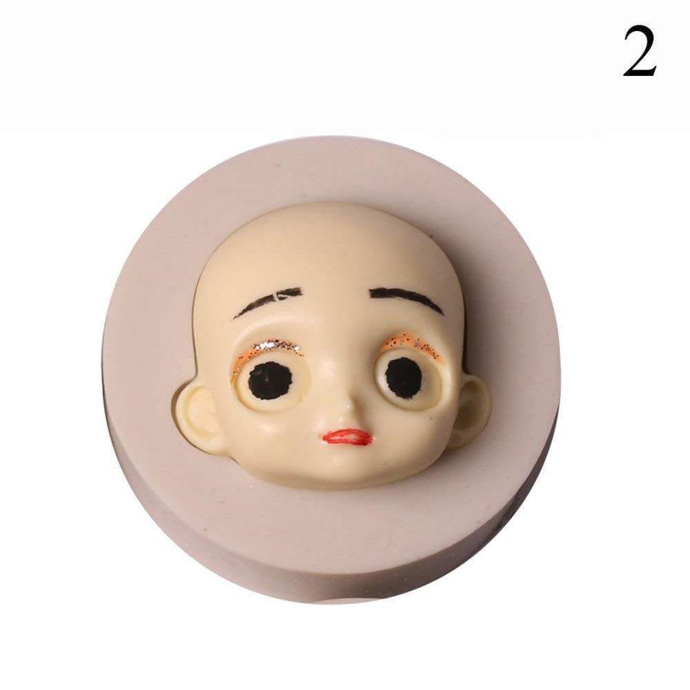 Color: 3 Baby Face Silicone Mould Chocolate Polymer Clay Handmade Craft Dolls Face Mold Sugarcraft Cake Baking Tools