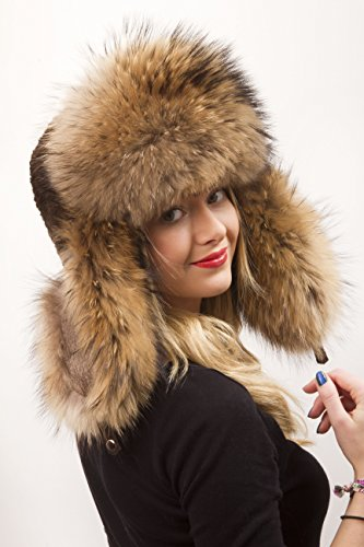 Raccoon and Sheared Beaver Furs Full Ushanka Hat Saga Furs