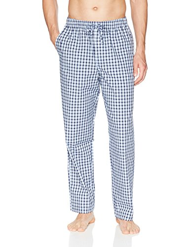 Amazon Essentials Men's Woven Pajama Pant, Light Blue/Navy Plaid, Large (Men Pajama Pants Tall)