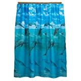 Carnation Home Fashions, Fabric Shower Curtain, Dolphins, Blue, 70-Inch by 72-Inch