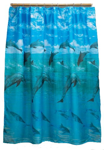 Carnation Home Fashions,Fabric Shower Curtain, Dolphins, Blue, 70-inch by 72-inch