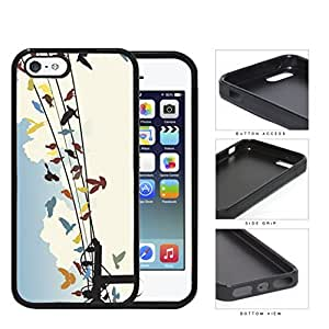 Colorful Birds on Sky Wire Line Hard Phone Case Cover iPhone i5 5s