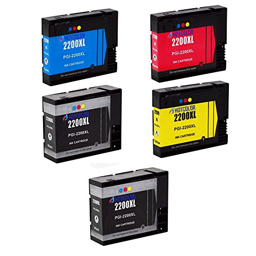 HOTCOLOR (TM) 5-Pack (2 Black+ 1 Cyan+ 1 Magenta+ 1 Yellow) Compatible Ink Cartridge PGI-2200XL Compatible With MAXIFY IB4020 MB5020 MB5320 (2200 Compatible Magenta Ink)