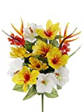 "Artificial 21.5"" Yellow Ginger/Heliconia/Protea Bush - Set of 2 bushes"