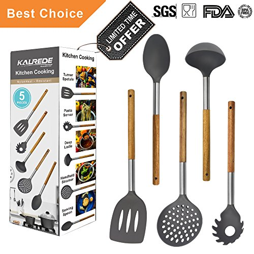 sils Set 5 Piece - Non Stick Nylon Cooking Utensils Set –Heat Resistant Kitchen Tools Set with Wooden Handle including Spatula, Pasta Server, Deep Ladle, Strainer and Spoon( Gray ()