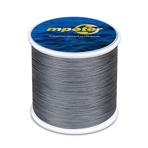Cheap mpeter Armor Braided Fishing Line, Abrasion Resistant Braided Lines, High Sensitivity and Zero Stretch, 4 Strands to 8 Strands with Smaller Diameter,Grey,547-Yard/40LB
