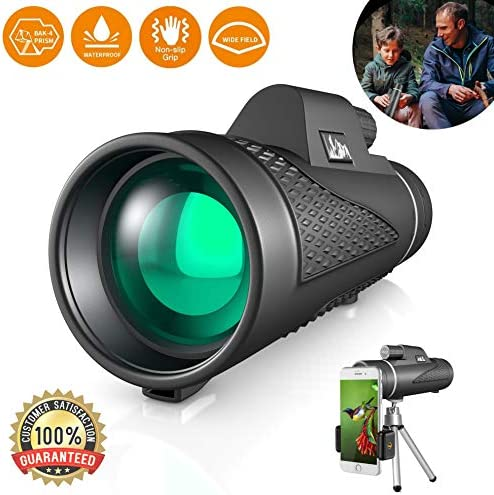 Best Compact 12×50 High Power Monocular Telescope Water Proof Shock Resistant BAK4 Prism for Bird Watching, Spotting, Hiking, Camping, and Hunting, Includes Free Tripod and Phone Adapter Clip
