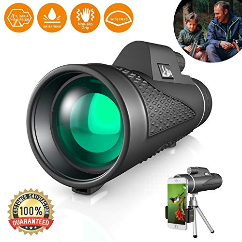 Best Compact 12x50 High Power Monocular Telescope Water Proof Shock Resistant BAK4 Prism for Bird Watching, Spotting, Hiking, Camping, and Hunting, Includes Free Tripod and Phone Adapter Clip