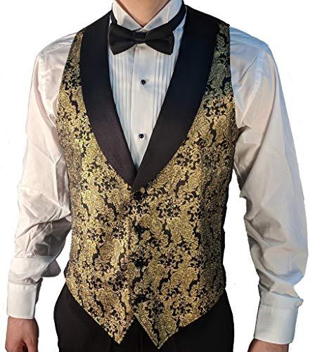 SixStarUniforms Men's Gold Metallic Tuxedo Vest with Black Lapel and Black Bow Tie Set Medium