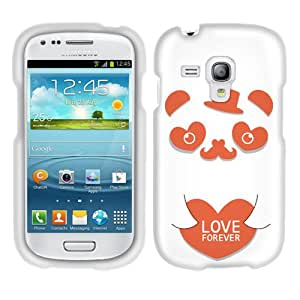 Fincibo (TM) Protector Cover Case Snap On Hard Plastic Front And Back For Samsung Galaxy S III mini i8190 - Koi Mr Panda In Love