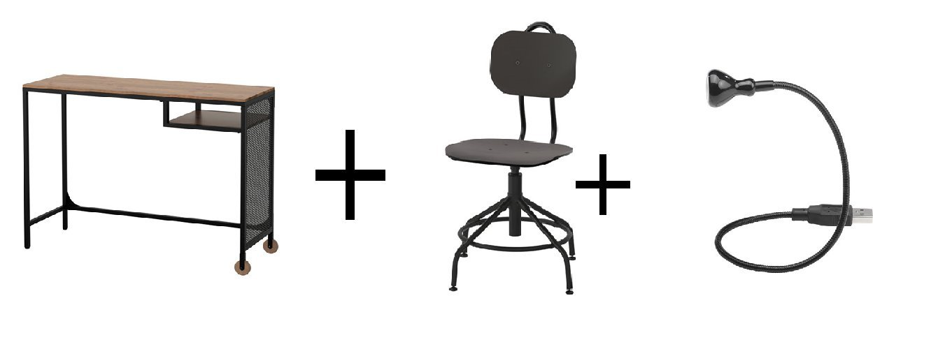 IKEA mesa para portátil, color negro, silla de oficina giratoria, Negro, LED USB lámpara, negro: Amazon.es: Oficina y papelería