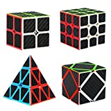 Dreampark Speed Cube Bundle [4 Pack] 2x2 3x3 Pyramid Skew Carbon Fiber Sticker Smooth Magic Cube Puzzle Toy