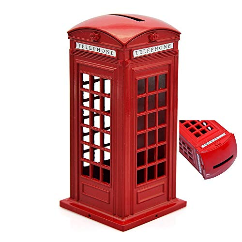 BeeSpring 1 X Original British English Metal Alloy Money Coin Spare Change Piggy London Street Red Telephone Booth Bank Souvenir Model Box Jar (English Coins)