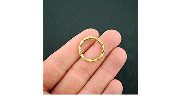 GC825 5 Linking Rings Antique Gold Tone Circle Connector Hammered Look
