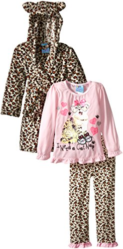 Bunz Kidz Little Girls' Toddler I Need a Cat Nap Robe and 2 Piece Pajama Set, Natural, 3T (Toddler Girl Robe)