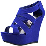 Madden Girl Wikke Women US 11 Blue Wedge Sandal
