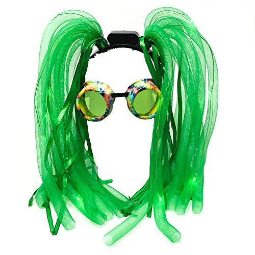Cyber Goth - Rave Glasses,Rave Accessories LED-Light up Dread Dreadlocks Headband Hair-Wig, Mardi Grass Costume Party