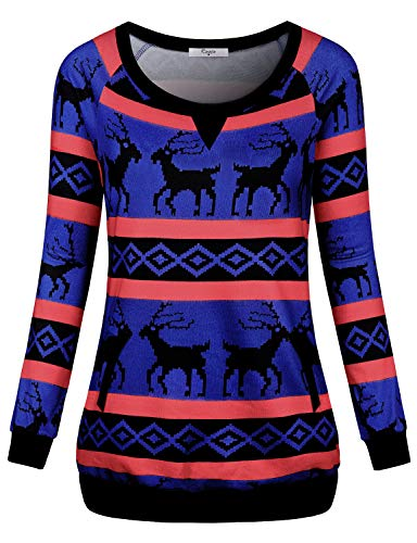 Cestyle Casual Tops for Women, Women's Christmas Sweaters Long Sleeve Round Neck Shirt Fashion 2019 Pullover Lightweight Sweatshirt Outdoor Clothes Blue XX-Large