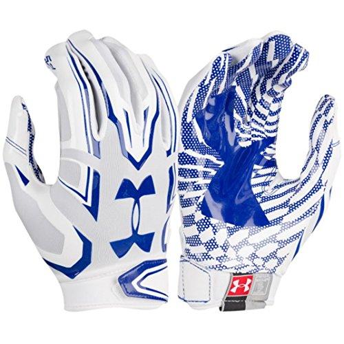 Under Armour Ua F5 Grab Tack Advanced Skill Heat Gear Max Flex Football Receiver Gloves  Adult Large   White Collegiate Blue
