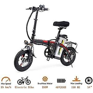 51mrcGOwTcL. SS300 Bicicletta elettrica Pieghevole, Bici elettrica da 14 Pollici in Alluminio per Bici elettrica per Adulti con Batteria al…