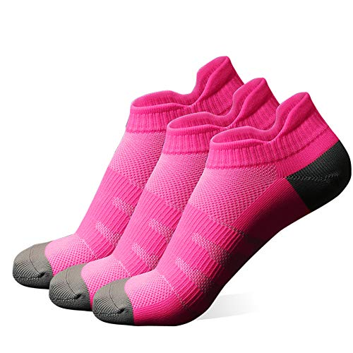 Diwollsam Hiking Socks Women, Girls Pink 3 Pairs Airflow Cycling Running Sports Fitness No Blister Arch Support Tab Low Cut Socks(3 Pairs, Fuchsia, S)