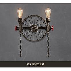 Lampada da Parete Applique da Parete LED Retro tubo di acqua in ferro battuto doppia ruota nostalgico bar caffetteria rotonda appeso negozio di abbigliamento lampada da parete industria 42 * 53 cm