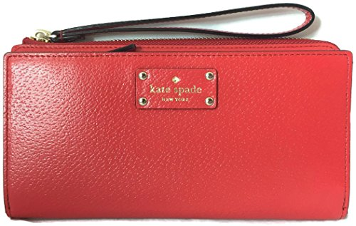Kate Spade Layton Wellesley Leather Wallet with Wristlet Strap Cherry Red