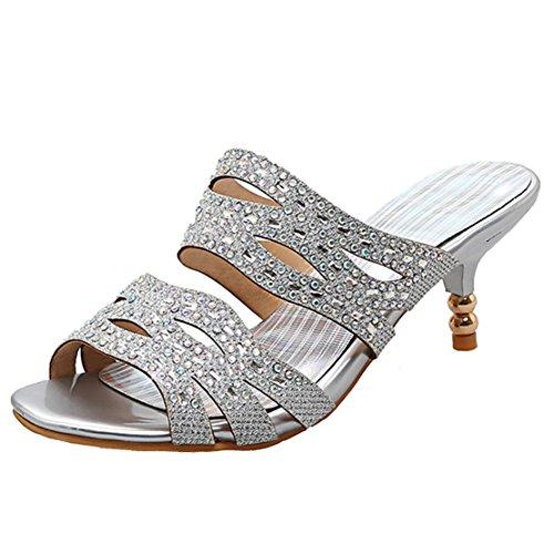 AIYOUMEI Damen Offen Stiletto High Heel Pantoletten mit Strass Bequem Modern Pailletten Sandalen Schuhe