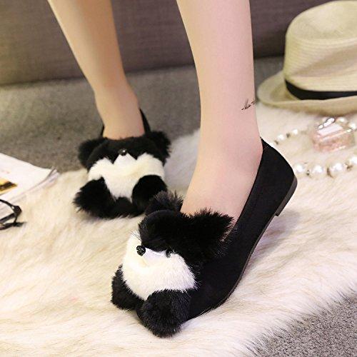 Y-Hui femmina pantofole di cotone in inverno Pantofole Casa Arredamento la molla piatta Scarpe Casual,35 Codice Standard,nero (lorso)