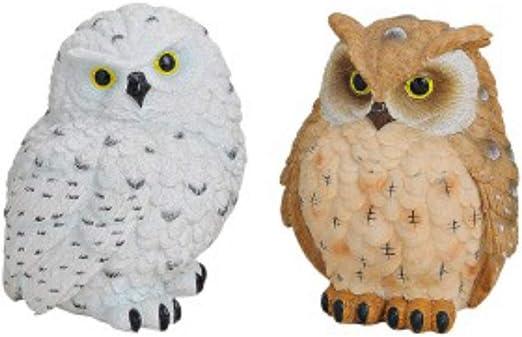 Qualityselection - Figuras Decorativas de búho con pájaro de Agarre, decoración de jardín, 10 cm, 2 Unidades: Amazon.es: Juguetes y juegos