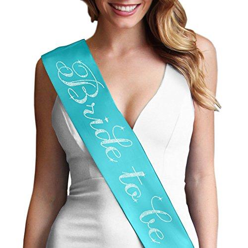 Bride To Be Flirty Rhinestone Satin Sash - Bridal Shower, Engagement & Bachelorette Decorations & Gifts Turquoise Sash(FlrtB2B (Turquoise Sash)