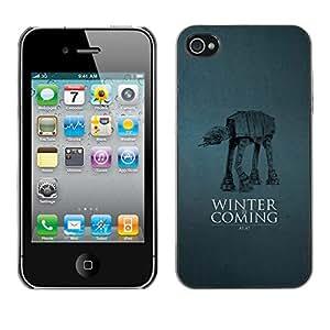 Caucho caso de Shell duro de la cubierta de accesorios de protección BY RAYDREAMMM - iPhone 4 / 4S - Winter Is Coming A A