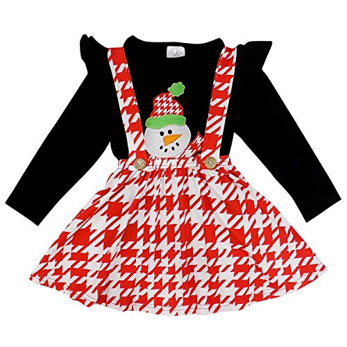 So Sydney Suspender Skirt 2 Piece Outfit, Girls Toddler Fall Winter Christmas Holiday Dress Up Boutique Outfit (XL (7), Houndstooth Red Snowman) -