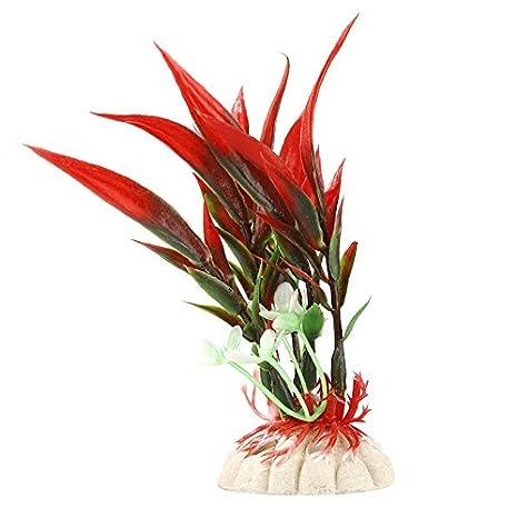 Aubess Planta de plástico para acuario, decoración de plantas para peceras, plástico, Rojo, 11cm: Amazon.es: Hogar