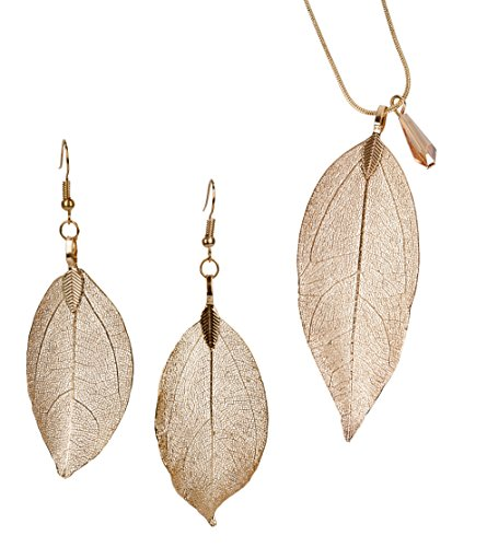 SPUNKYsoul Leaf Filigree Earrings & Necklace Set Lightweight Silver, Gold and Gun Metal & Rose Gold Fishhook Earwire Gift for Women Collection (Set Earrings Necklace Gold)
