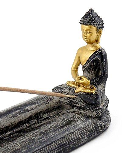 Bellaa 24641 Buddha Statue Dhyana Mudra Incense Stick Holder 10