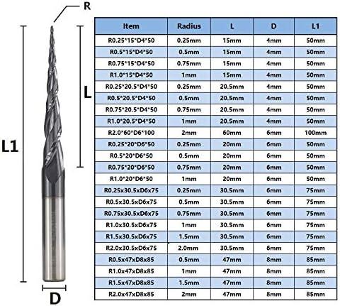 WITHOUT BRAND 1pc 2 Flöte-Kugel-Nasen Kegelschaftfräser Tungsten VHM-Fräser 1pcs Taper Fräser Holz Metall Fräswerkzeuge (Größe : R2.0x30.5xD6x75)