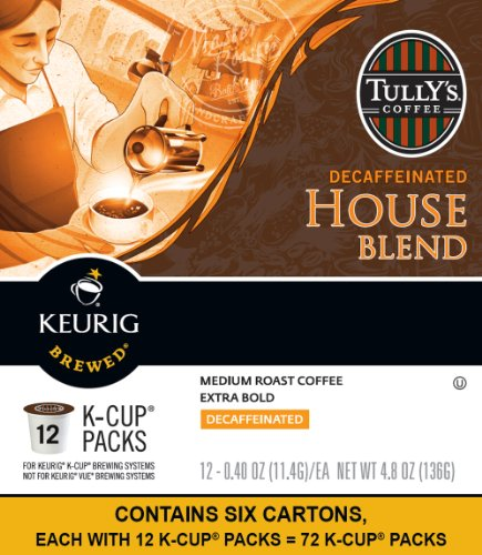 Tully's Coffee House Blend Decaf Keurig K-Cups Coffee, 72 Count