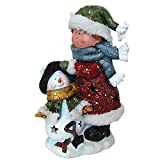 Child with Snowman LED Light Figurine Holiday Decor Polyresin 12'' inch