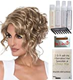 Bundle - 8 items: Kelsey Wig by Envy, Christy's Wigs Q & A Booklet, 2oz Travel Size Wig Shampoo, Conditioning Spray, Flexible Spray, HD Smooth, Wide Tooth Comb & Wig Cap - Color: DARK GREY