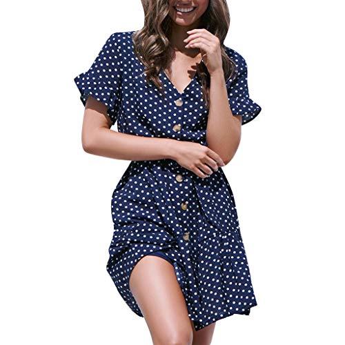 - Women Summer Dot Printed Dress Short Sleeve Bandage Button Casual Beach Dress Navy