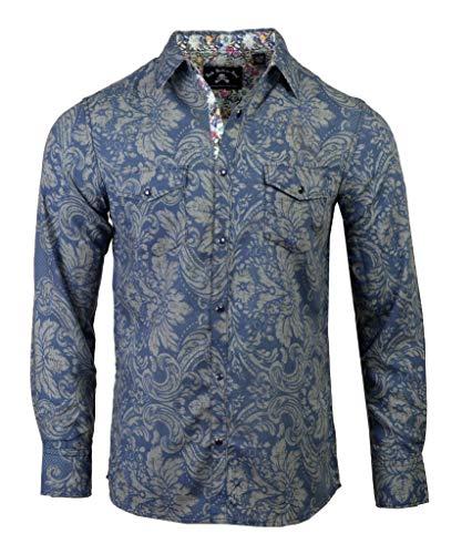 Men's 'Born to be Wild' Long Sleeve Paisley Snap Button Blue Shirt 743 (XL) -