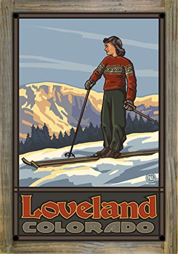 Northwest Art Mall Loveland Colorado Girl Skier Standing Sunset Metal Print on Reclaimed Barn Wood by Paul A. Lanquist (12