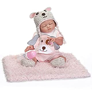 Yesteria Full Silicone Body Reborn Baby Dolls Girl Look Real Pink Knitted Outfit 18 Inches