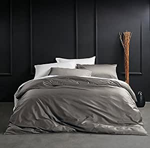 Solid Color Egyptian Cotton Duvet Cover Luxury Bedding Set High Thread Count Long Staple Sateen Weave Silky Soft Breathable Pima Quality Bed Linen (King, Taupe Grey)