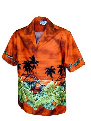 Pacific Legend Boys Motorcycle Hawaiian Sunset Bottom Band Shirt Rust S/10 (Shirt Hawaiian Motorcycle)