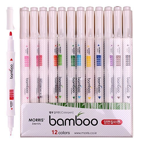nature-bamboo-shaped-water-based-twin-tip-color-markers-pen-with-pack-of-12