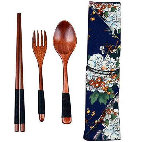 Wooden Chopsticks Spoon Fork Set Japanese Style Tableware Travel Utensils with Pouch for Camping,Picnic,Office or Home (Style B) ()